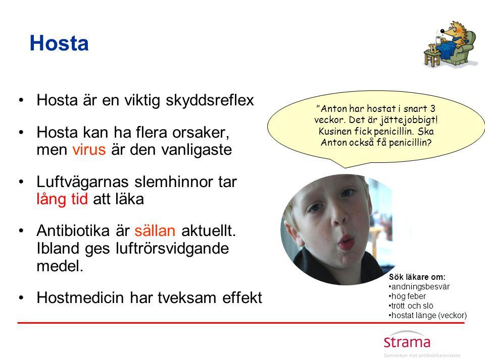 Hosta •Hosta är en viktig skyddsreflex •Hosta kan ha flera orsaker, men virus är den vanligaste •Luftvägarnas slemhinnor tar lång tid att läka •Antibi