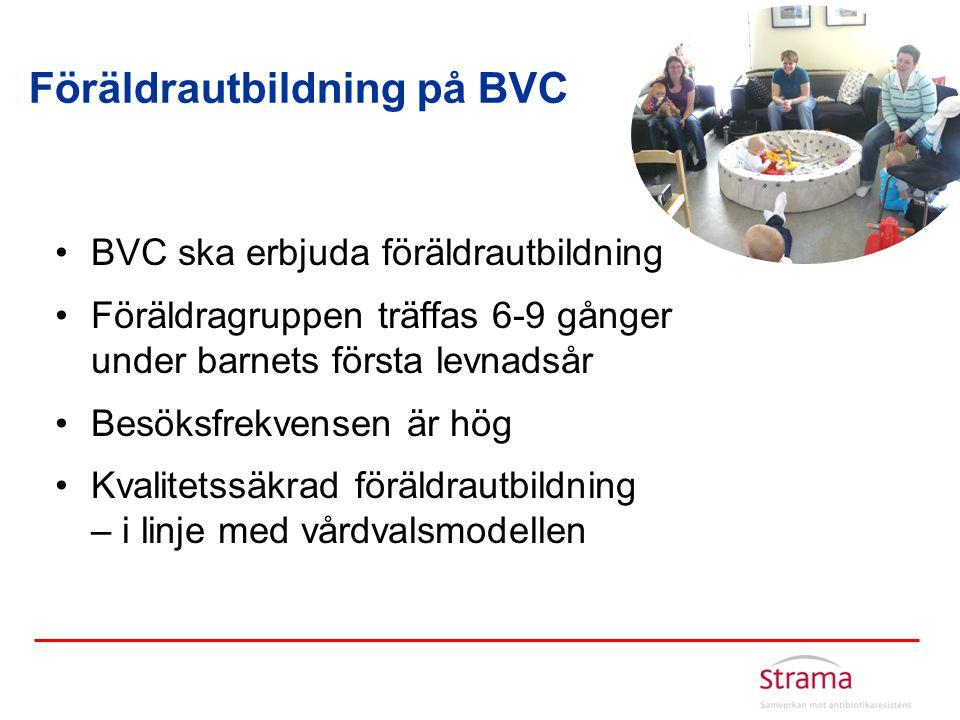 Föräldrautbildning på BVC •BVC ska erbjuda föräldrautbildning •Föräldragruppen träffas 6-9 gånger under barnets första levnadsår •Besöksfrekvensen är
