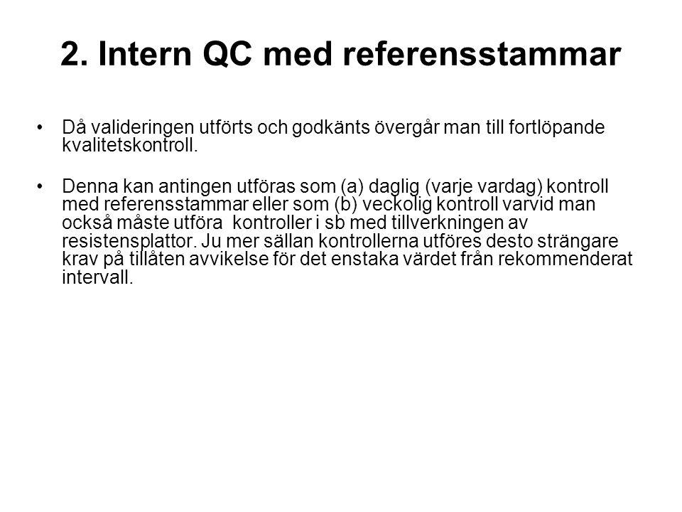 2. Intern QC med referensstammar •Då valideringen utförts och godkänts övergår man till fortlöpande kvalitetskontroll. •Denna kan antingen utföras som