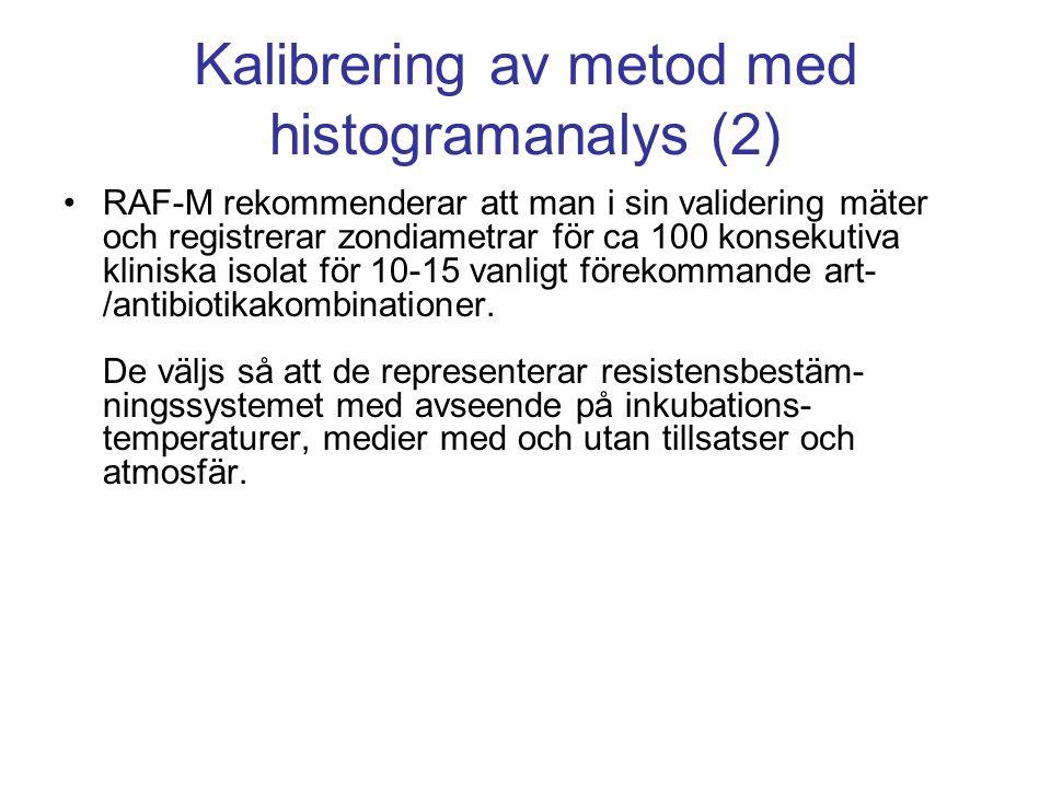 Kalibrering av metod med histogramanalys (2) •RAF-M rekommenderar att man i sin validering mäter och registrerar zondiametrar för ca 100 konsekutiva kliniska isolat för 10-15 vanligt förekommande art- /antibiotikakombinationer.