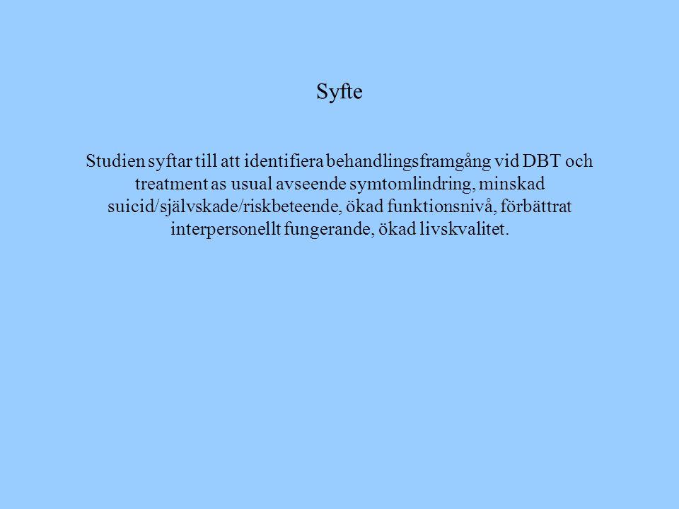 Syfte Studien syftar till att identifiera behandlingsframgång vid DBT och treatment as usual avseende symtomlindring, minskad suicid/självskade/riskbe
