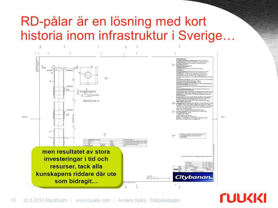 20.5.2010 Stockholm | www.ruukki.com | Anders Spåls - Stålpåledagen10 RD-pålar är en lösning med kort historia inom infrastruktur i Sverige… men resul