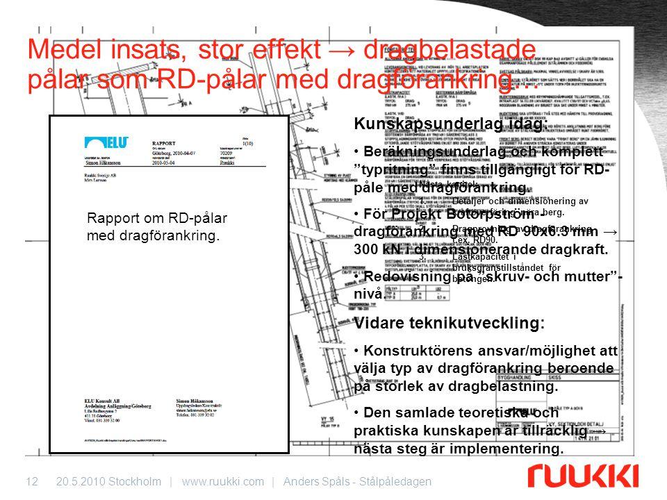20.5.2010 Stockholm | www.ruukki.com | Anders Spåls - Stålpåledagen12 Medel insats, stor effekt → dragbelastade pålar som RD-pålar med dragförankring…