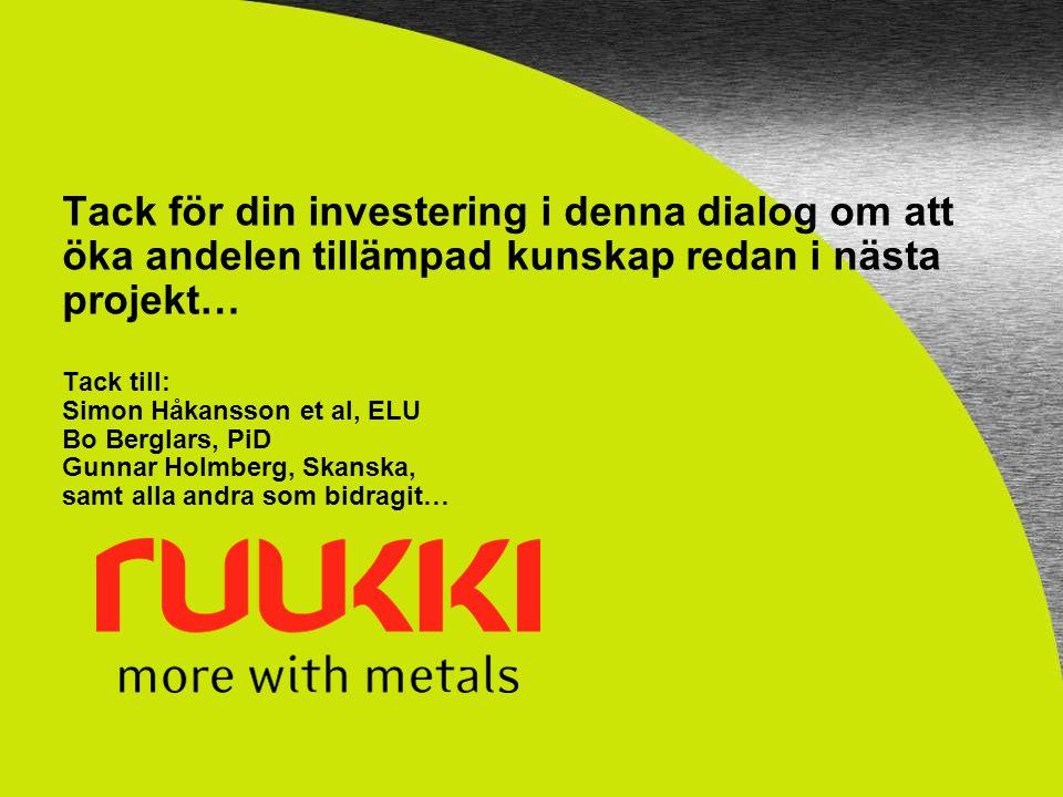 Tack för din investering i denna dialog om att öka andelen tillämpad kunskap redan i nästa projekt… Tack till: Simon Håkansson et al, ELU Bo Berglars,
