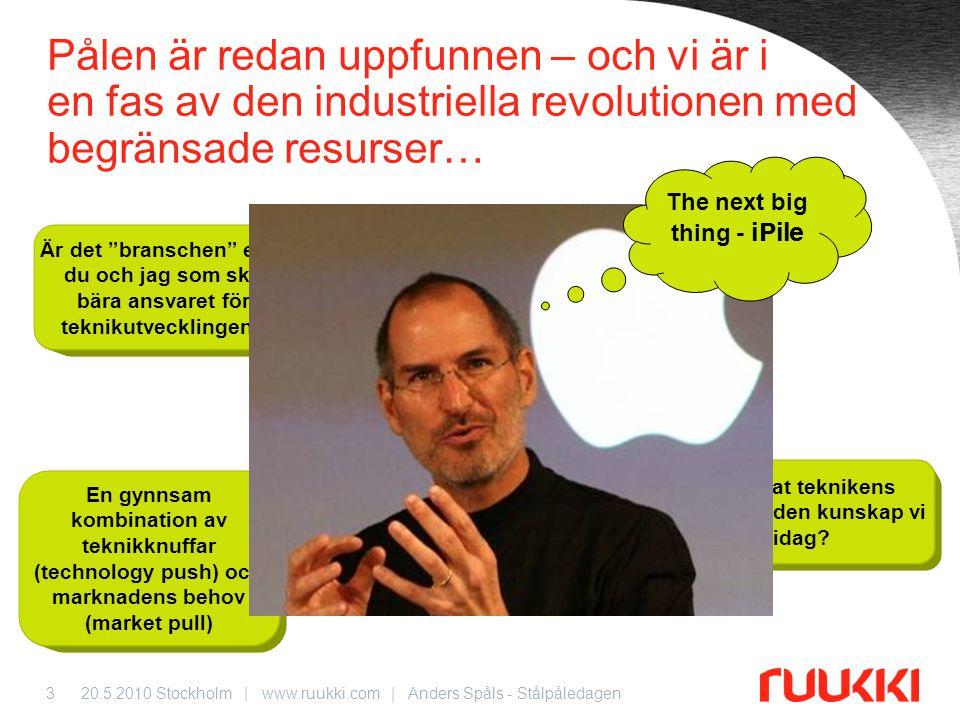 20.5.2010 Stockholm | www.ruukki.com | Anders Spåls - Stålpåledagen3 IT2020 Composite Pile Pålen är redan uppfunnen – och vi är i en fas av den indust