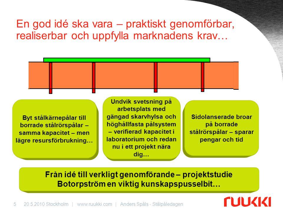 20.5.2010 Stockholm | www.ruukki.com | Anders Spåls - Stålpåledagen5 En god idé ska vara – praktiskt genomförbar, realiserbar och uppfylla marknadens
