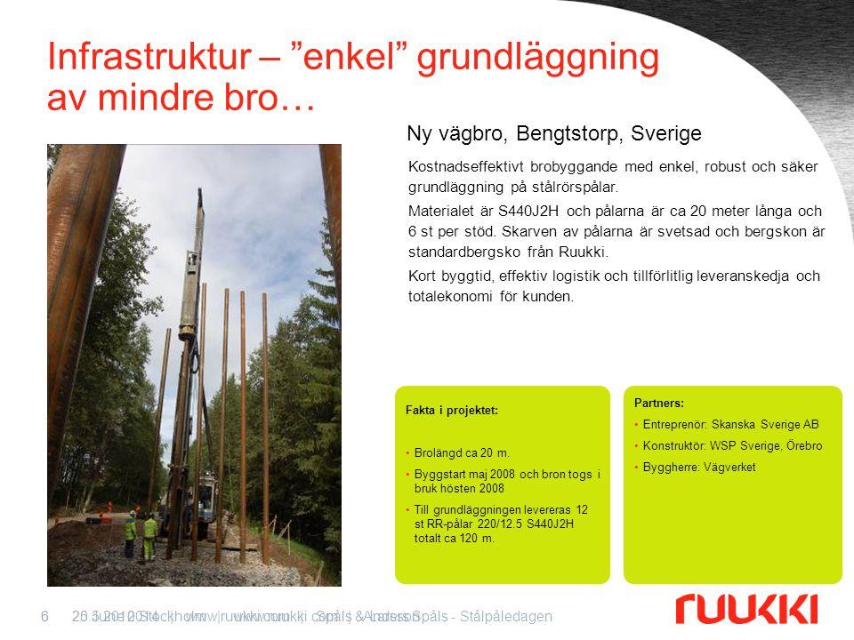20.5.2010 Stockholm   www.ruukki.com   Anders Spåls - Stålpåledagen7 Teknikknuff – nästa steg – RD-påle med (eller utan) dragförankring… Möter marknadens krav på samma kapacitet med lägre resursförbrukning