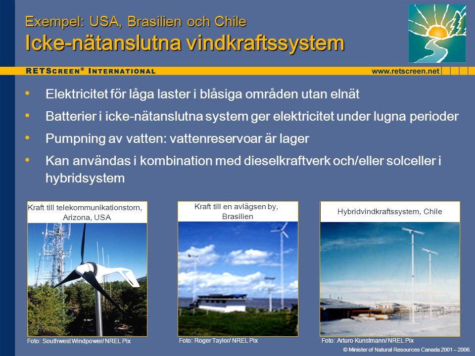 © Minister of Natural Resources Canada 2001 – 2006. Exempel: USA, Brasilien och Chile Icke-nätanslutna vindkraftssystem • • Elektricitet för låga last
