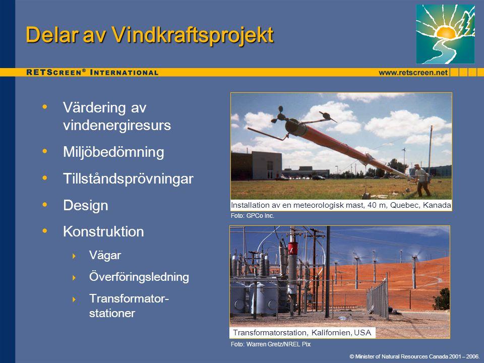 © Minister of Natural Resources Canada 2001 – 2006. Delar av Vindkraftsprojekt • • Värdering av vindenergiresurs • • Miljöbedömning • • Tillståndspröv