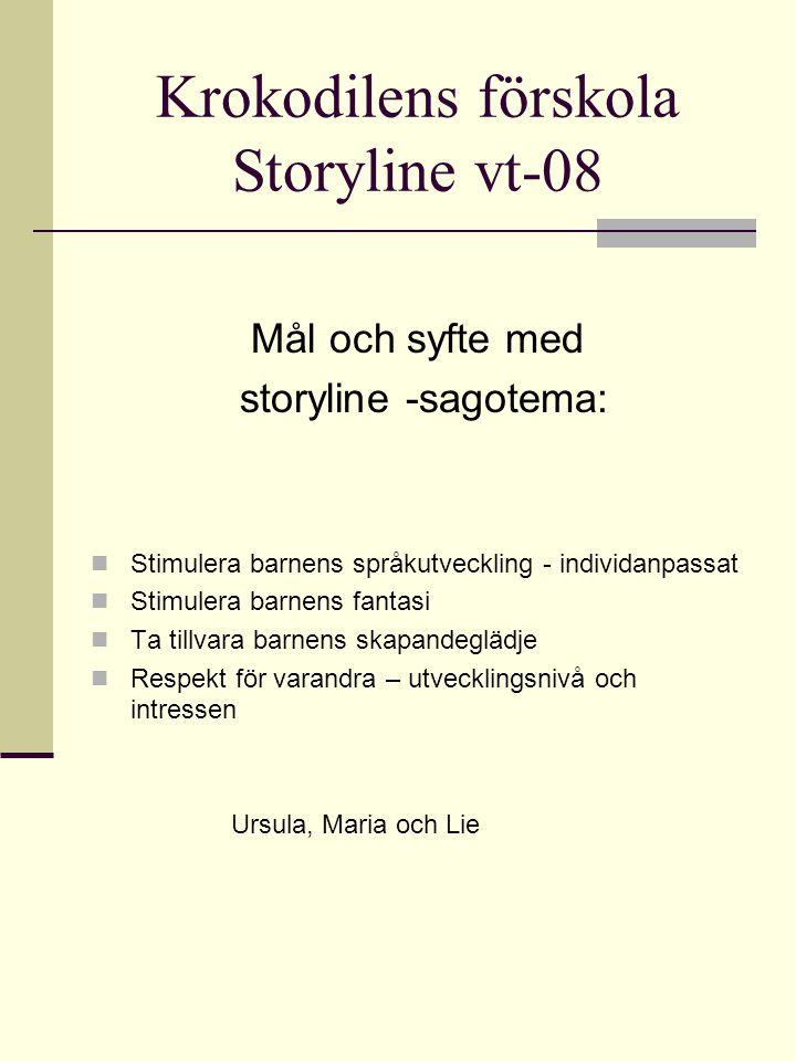 Krokodilens förskola Storyline vt-08 Mål och syfte med storyline -sagotema:  Stimulera barnens språkutveckling - individanpassat  Stimulera barnens