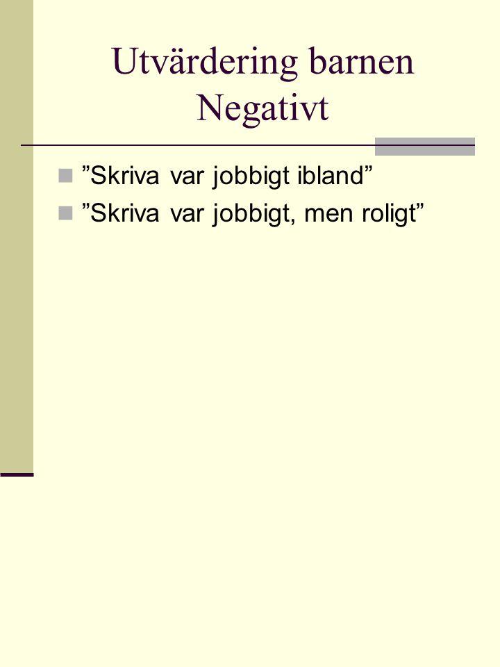 """Utvärdering barnen Negativt  """"Skriva var jobbigt ibland""""  """"Skriva var jobbigt, men roligt"""""""