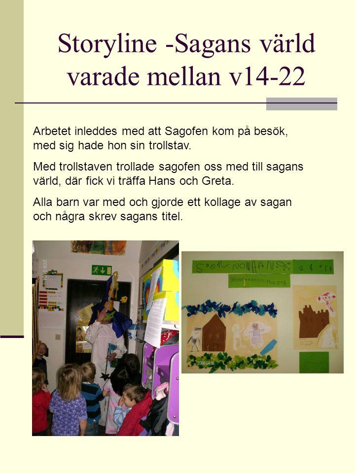 Storyline -Sagans värld varade mellan v14-22 Arbetet inleddes med att Sagofen kom på besök, med sig hade hon sin trollstav. Med trollstaven trollade s