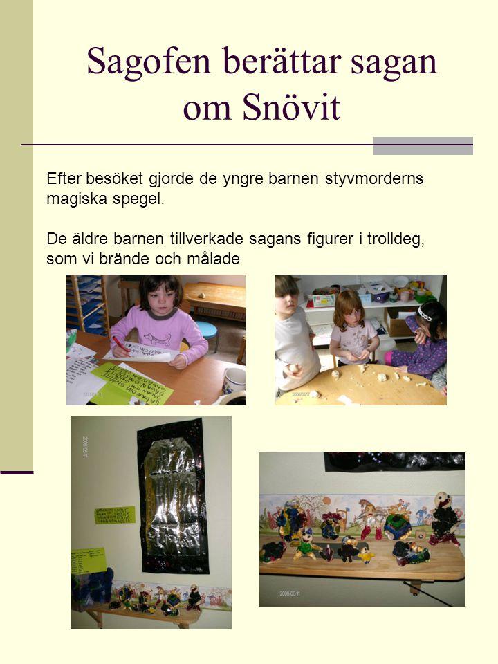 Sagofen berättar sagan om Snövit Efter besöket gjorde de yngre barnen styvmorderns magiska spegel. De äldre barnen tillverkade sagans figurer i trolld