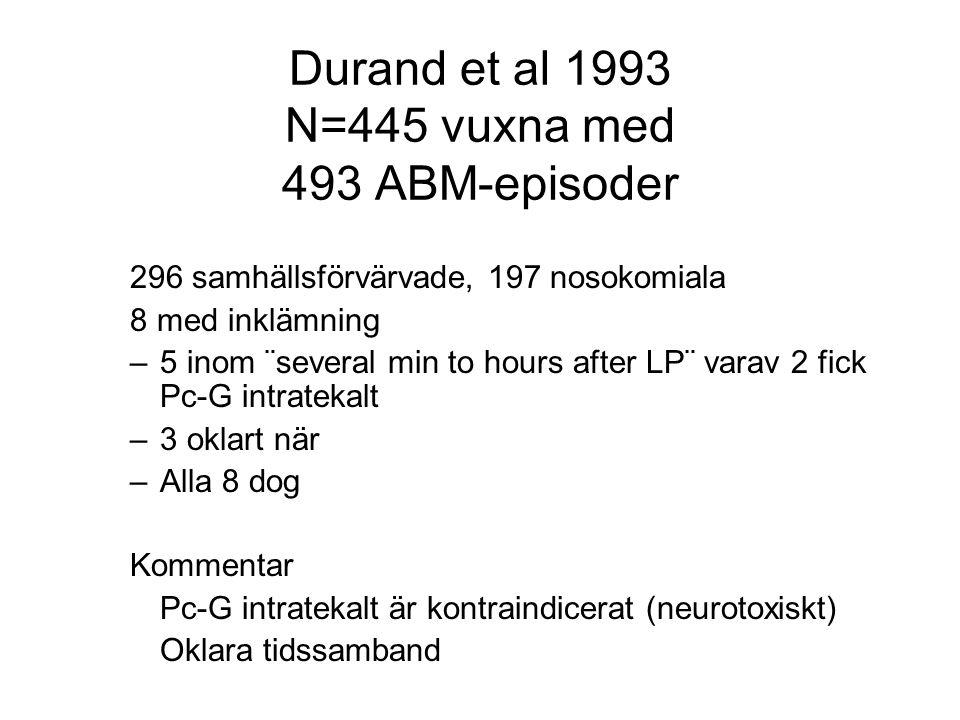 Durand et al 1993 N=445 vuxna med 493 ABM-episoder 296 samhällsförvärvade, 197 nosokomiala 8 med inklämning –5 inom ¨several min to hours after LP¨ va