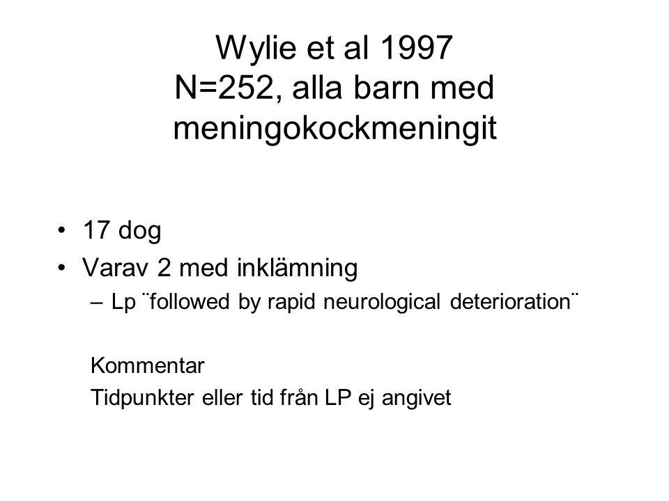 Wylie et al 1997 N=252, alla barn med meningokockmeningit •17 dog •Varav 2 med inklämning –Lp ¨followed by rapid neurological deterioration¨ Kommentar