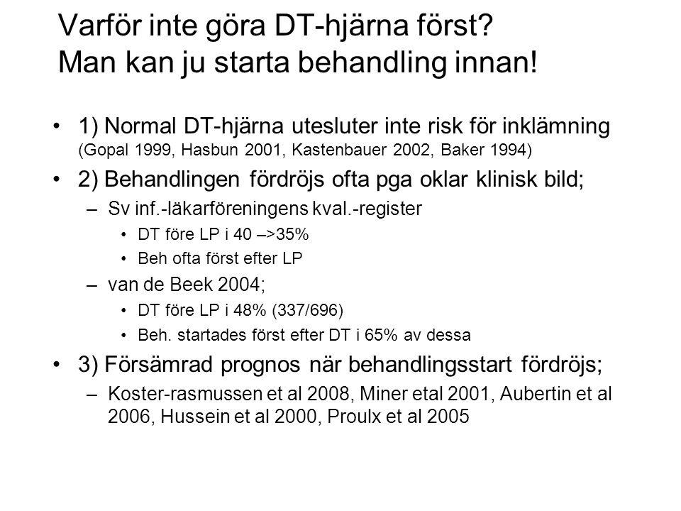 Varför inte göra DT-hjärna först? Man kan ju starta behandling innan! •1) Normal DT-hjärna utesluter inte risk för inklämning (Gopal 1999, Hasbun 2001