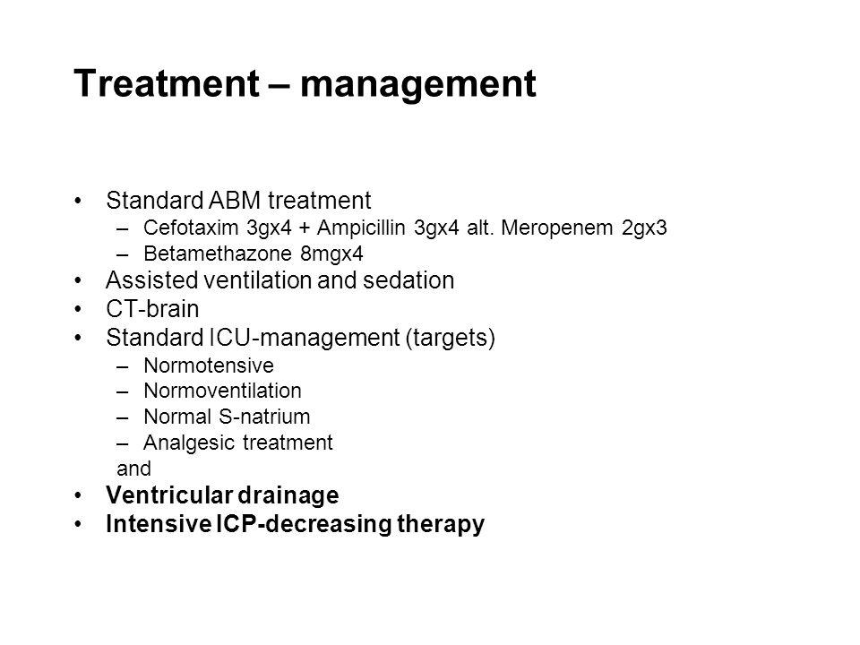 Treatment – management •Standard ABM treatment –Cefotaxim 3gx4 + Ampicillin 3gx4 alt. Meropenem 2gx3 –Betamethazone 8mgx4 •Assisted ventilation and se