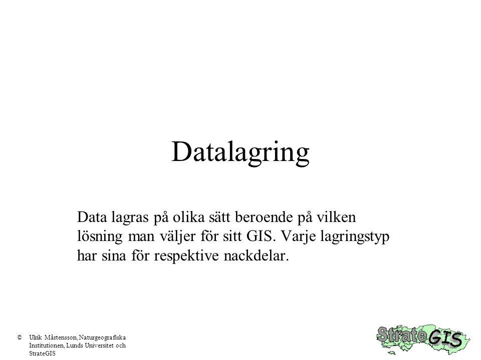 Data för GIS •Rumslig information (koordinater, uppgifter som beskriver var) •Attributinformation (uppgifter som beskriver vad) ©Ulrik Mårtensson, Naturgeografiska Institutionen, Lunds Universitet och StrateGIS