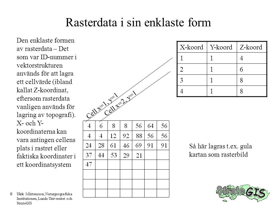 Rasterdata i sin enklaste form X-koordY-koordZ-koord 114 216 318 418 Den enklaste formen av rasterdata – Det som var ID-nummer i vektorstrukturen anvä