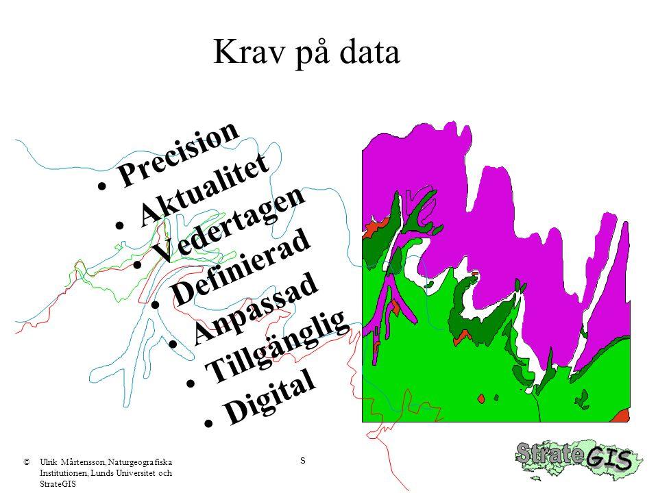 s Krav på data •Precision •Aktualitet •Vedertagen •Definierad •Anpassad •Tillgänglig •Digital ©Ulrik Mårtensson, Naturgeografiska Institutionen, Lunds