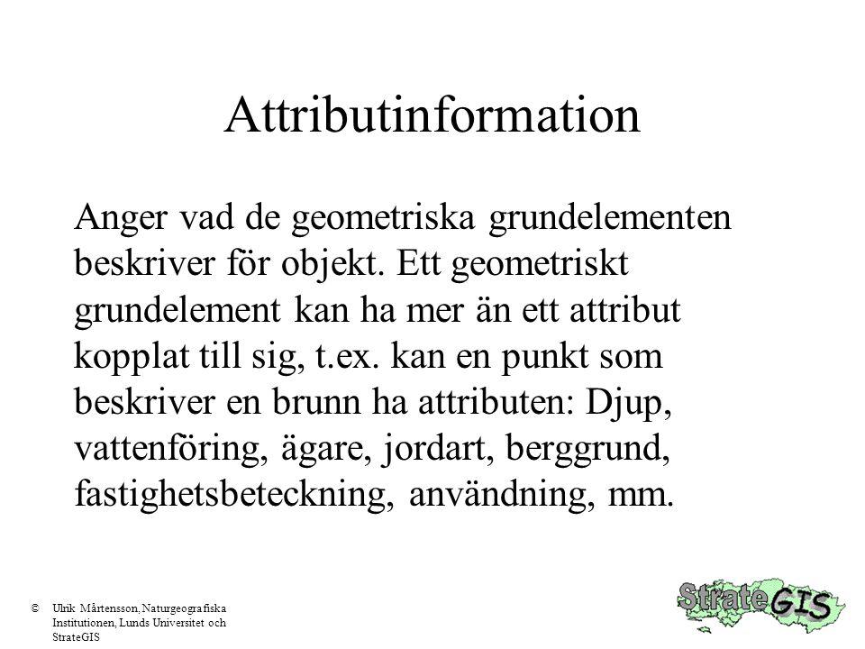 Attributinformation Anger vad de geometriska grundelementen beskriver för objekt. Ett geometriskt grundelement kan ha mer än ett attribut kopplat till