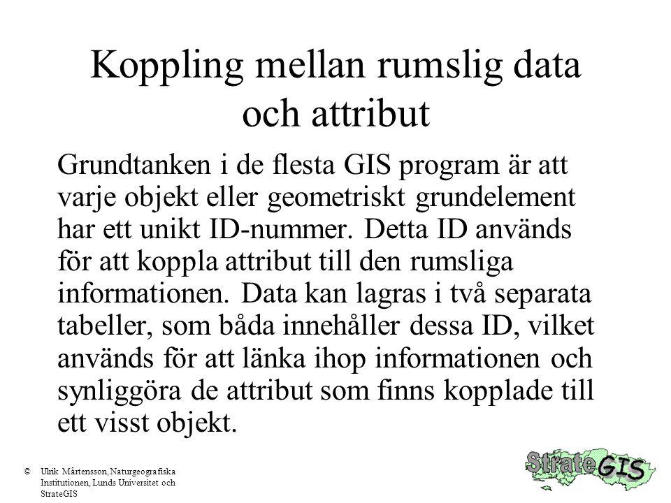 Koppling mellan rumslig data och attribut Grundtanken i de flesta GIS program är att varje objekt eller geometriskt grundelement har ett unikt ID-numm