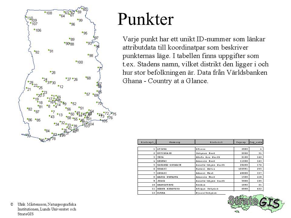 Punkter ©Ulrik Mårtensson, Naturgeografiska Institutionen, Lunds Universitet och StrateGIS