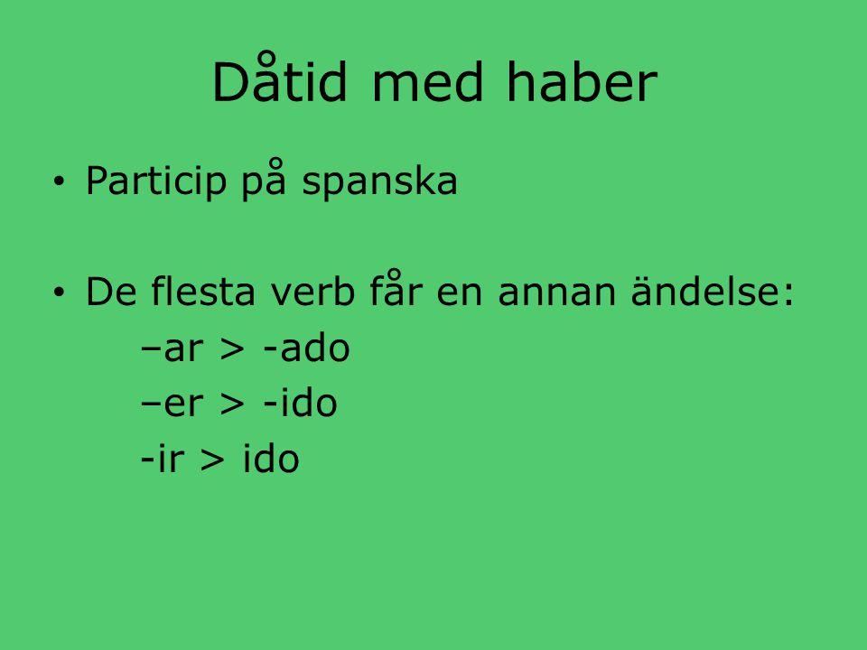 Dåtid med haber • Particip på spanska • De flesta verb får en annan ändelse: –ar > -ado –er > -ido -ir > ido