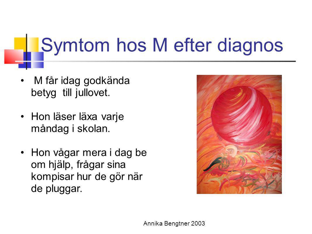 Symtom hos M efter diagnos Annika Bengtner 2003 • M får idag godkända betyg till jullovet. •Hon läser läxa varje måndag i skolan. •Hon vågar mera i da