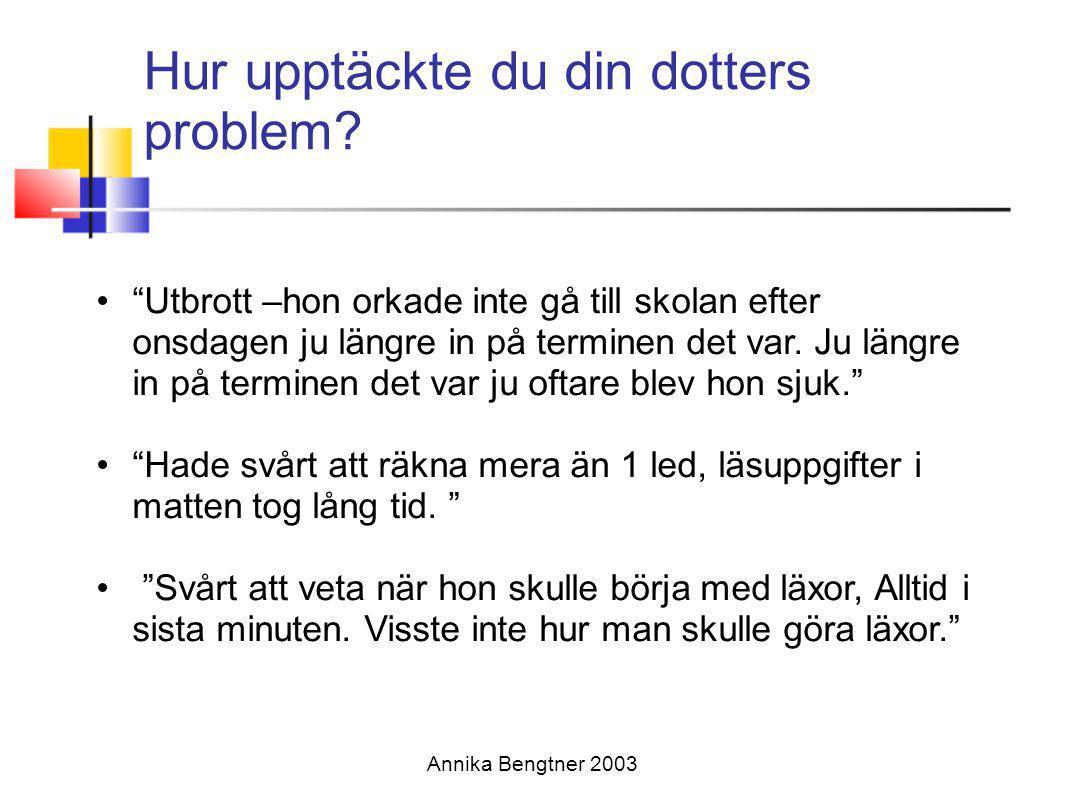 Annika Bengtner 2003 Högstadiet-gymnasiet flickor med AD/HD •Ökade krav, självständighet •utmattade •Upprätthålla energi och motivation •Prioritera arbete •Organisera vardagen •Tvångsmässigt beteende