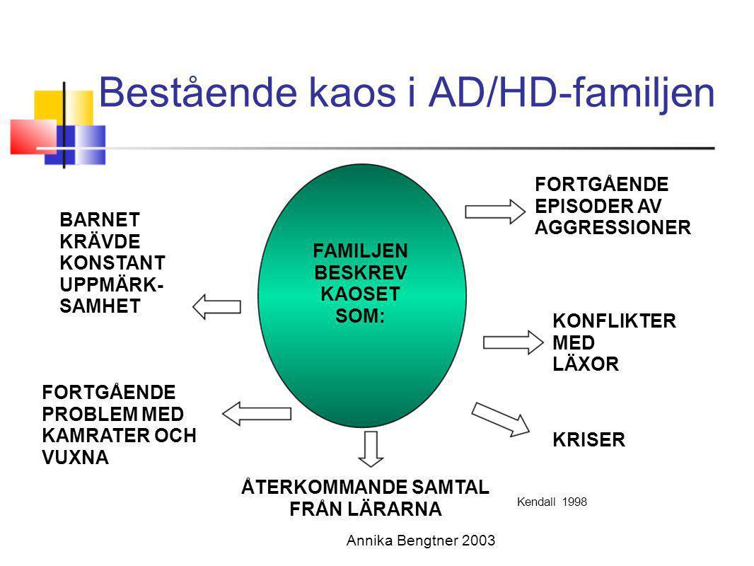 Annika Bengtner 2003 Bestående kaos i AD/HD-familjen FAMILJEN BESKREV KAOSET SOM: FORTGÅENDE EPISODER AV AGGRESSIONER KRISER ÅTERKOMMANDE SAMTAL FRÅN