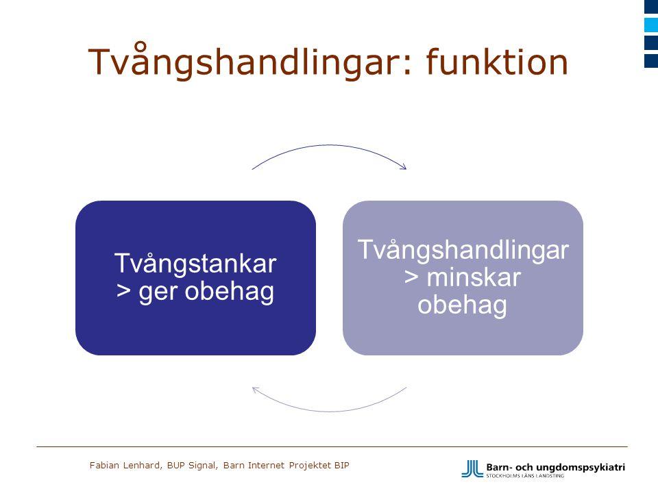 Fabian Lenhard, BUP Signal, Barn Internet Projektet BIP Tvångshandlingar: funktion Tvångstankar > ger obehag Tvångshandlingar > minskar obehag