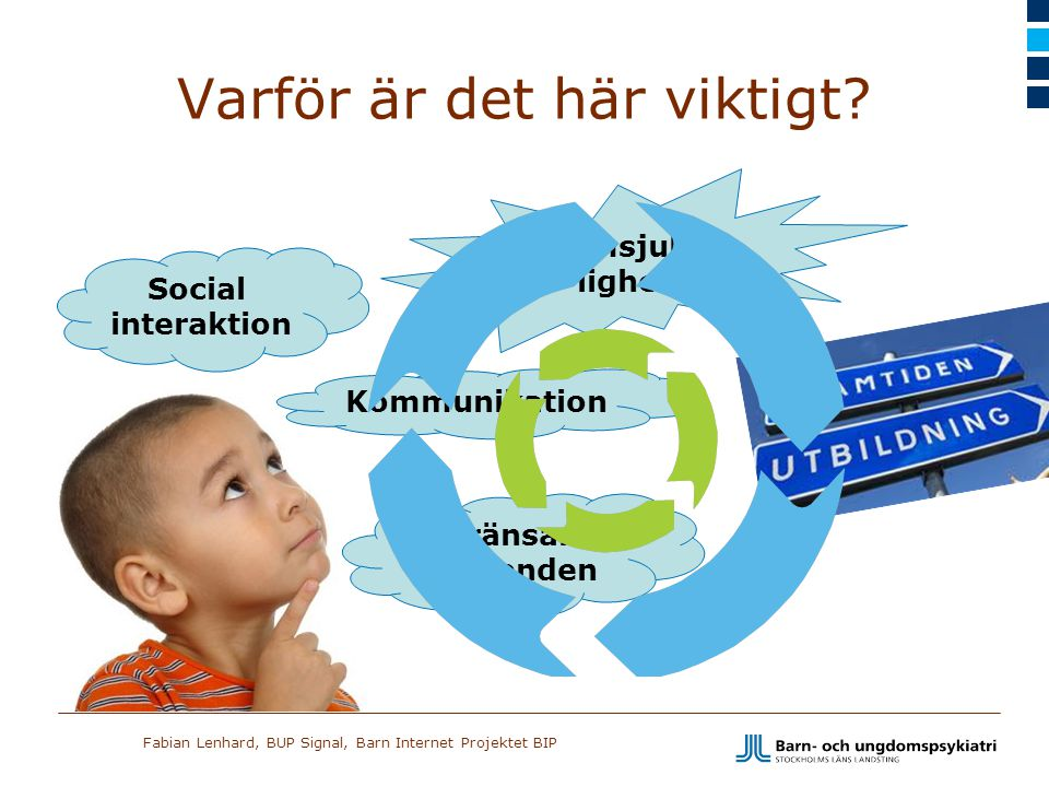 Fabian Lenhard, BUP Signal, Barn Internet Projektet BIP Varför är det här viktigt? Social interaktion Begränsande beteenden Kommunikation Samsjuk- lig
