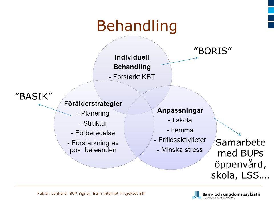 Fabian Lenhard, BUP Signal, Barn Internet Projektet BIP Behandling Individuell Behandling - Förstärkt KBT Anpassningar - I skola - hemma - Fritidsakti