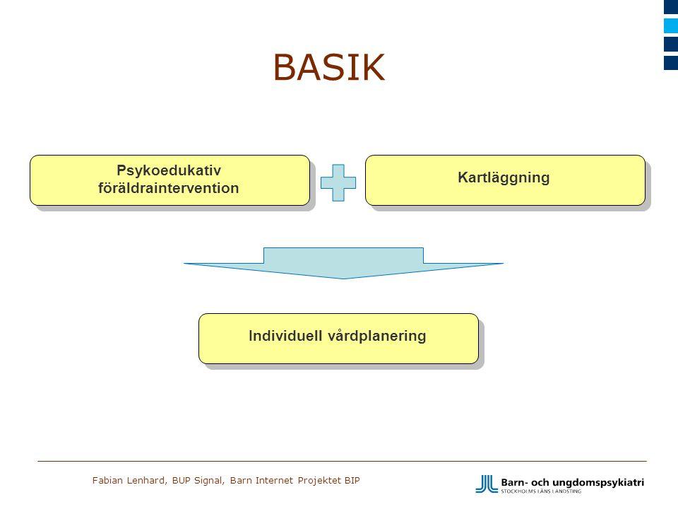 Fabian Lenhard, BUP Signal, Barn Internet Projektet BIP Kartläggning Psykoedukativ föräldraintervention BASIK Individuell vårdplanering