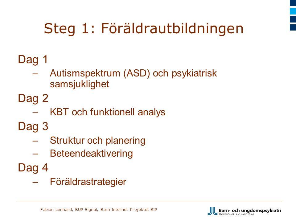 Fabian Lenhard, BUP Signal, Barn Internet Projektet BIP Steg 1: Föräldrautbildningen Dag 1 –Autismspektrum (ASD) och psykiatrisk samsjuklighet Dag 2 –