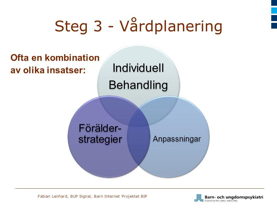 Fabian Lenhard, BUP Signal, Barn Internet Projektet BIP Steg 3 - Vårdplanering Ofta en kombination av olika insatser: Individuell Behandling Anpassnin
