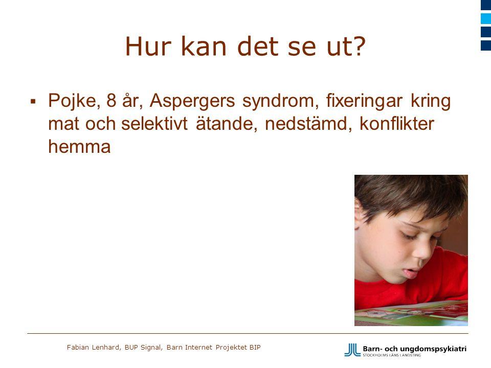 Fabian Lenhard, BUP Signal, Barn Internet Projektet BIP Hur kan det se ut?  Pojke, 8 år, Aspergers syndrom, fixeringar kring mat och selektivt ätande