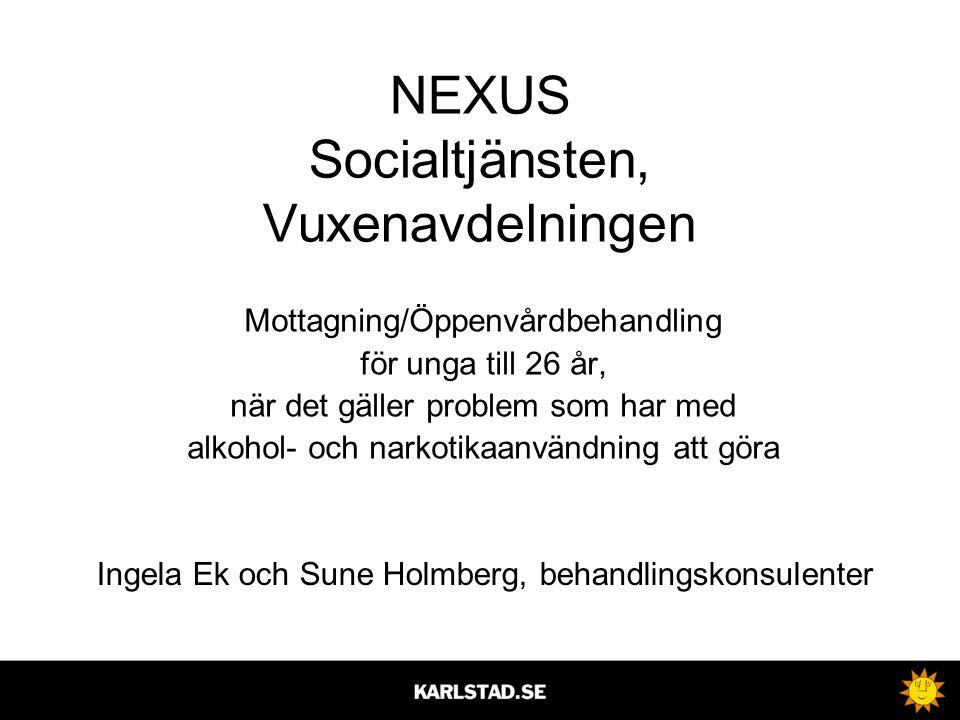 NEXUS Socialtjänsten, Vuxenavdelningen Mottagning/Öppenvårdbehandling för unga till 26 år, när det gäller problem som har med alkohol- och narkotikaan