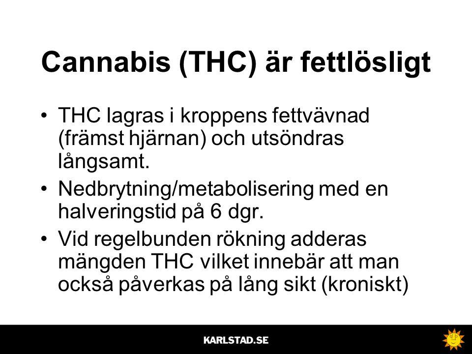 Cannabis (THC) är fettlösligt •THC lagras i kroppens fettvävnad (främst hjärnan) och utsöndras långsamt. •Nedbrytning/metabolisering med en halverings