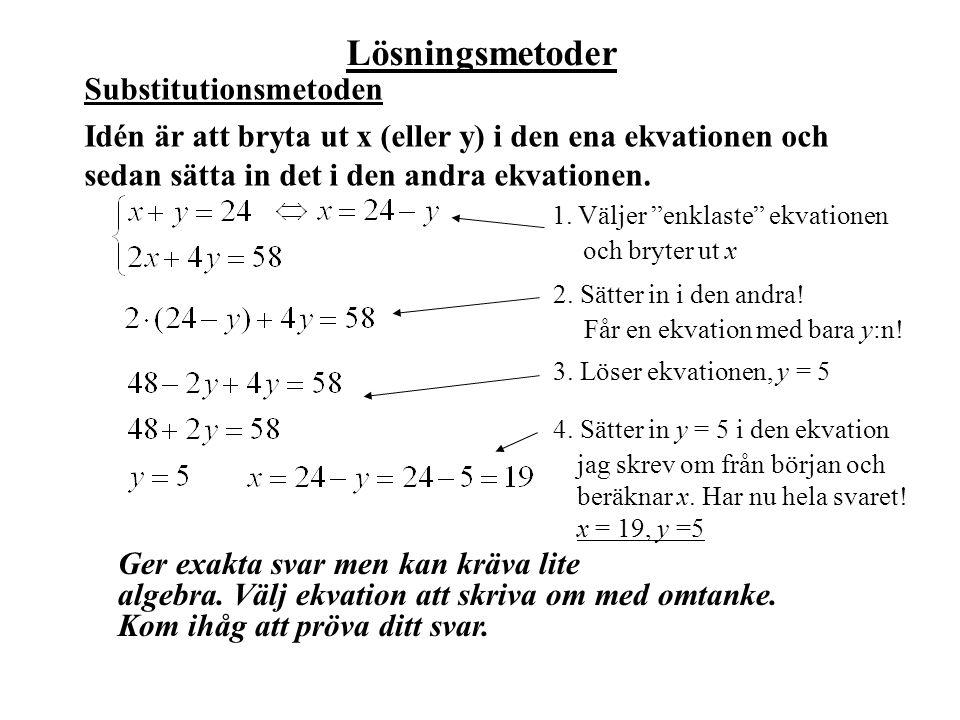 Lösningsmetoder Ger exakta svar men kan kräva lite algebra. Välj ekvation att skriva om med omtanke. Kom ihåg att pröva ditt svar. Substitutionsmetode