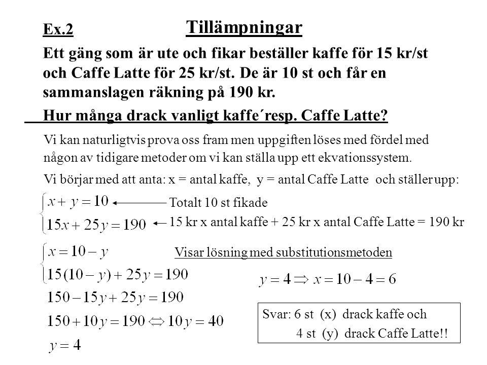 Tillämpningar Ex.2 Ett gäng som är ute och fikar beställer kaffe för 15 kr/st och Caffe Latte för 25 kr/st. De är 10 st och får en sammanslagen räknin