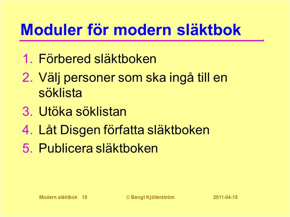 Modern släktbok 10© Bengt Kjöllerström 2011-04-15 Moduler för modern släktbok 1.Förbered släktboken 2.Välj personer som ska ingå till en söklista 3.Ut