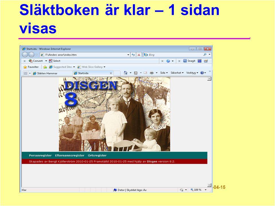 Modern släktbok 28© Bengt Kjöllerström 2011-04-15 Släktboken är klar – 1 sidan visas