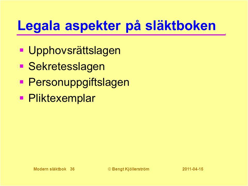 Modern släktbok 36© Bengt Kjöllerström 2011-04-15 Legala aspekter på släktboken  Upphovsrättslagen  Sekretesslagen  Personuppgiftslagen  Pliktexem
