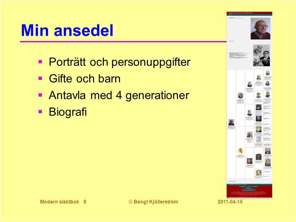 Modern släktbok 8© Bengt Kjöllerström 2011-04-15 Min ansedel  Porträtt och personuppgifter  Gifte och barn  Antavla med 4 generationer  Biografi