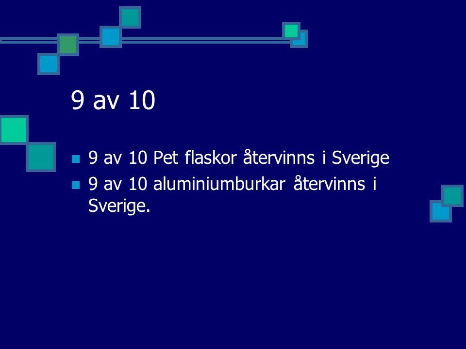 9 av 10  9 av 10 Pet flaskor återvinns i Sverige  9 av 10 aluminiumburkar återvinns i Sverige.