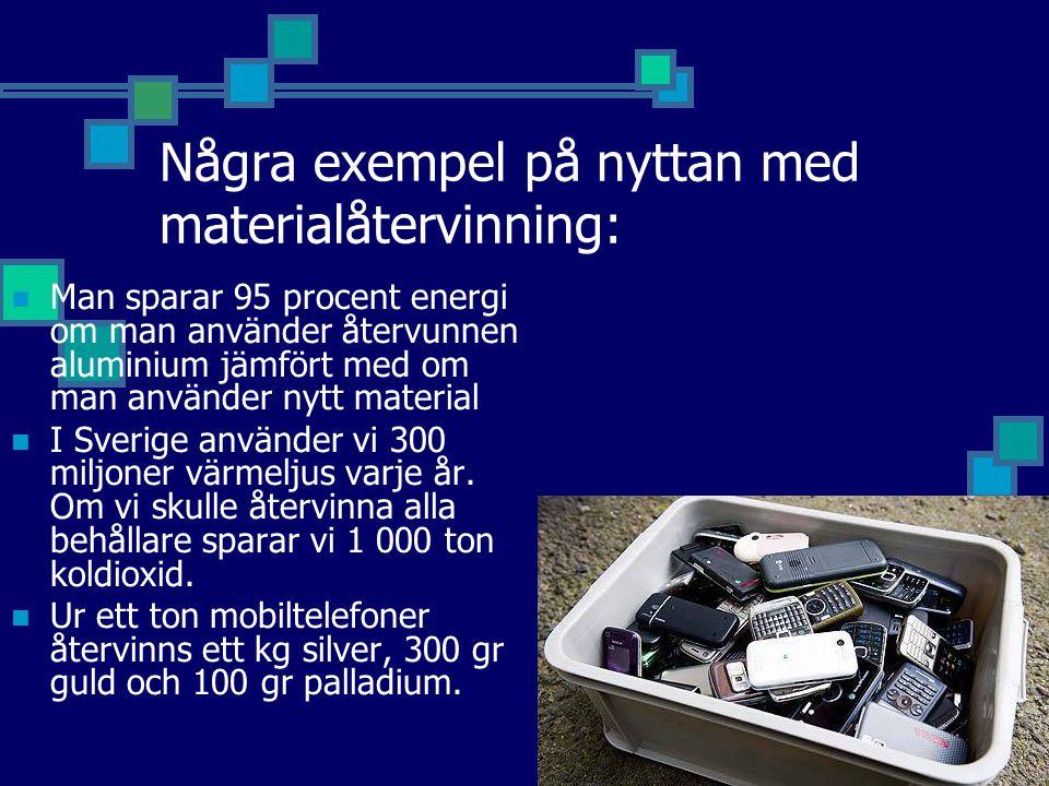 Några exempel på nyttan med materialåtervinning:  Man sparar 95 procent energi om man använder återvunnen aluminium jämfört med om man använder nytt material  I Sverige använder vi 300 miljoner värmeljus varje år.