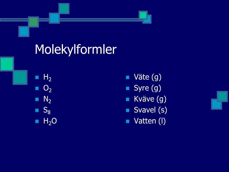 Molekylformler H2H2 O2O2 N2N2 S8S8 H2OH2O  Väte (g)  Syre (g)  Kväve (g)  Svavel (s)  Vatten (l)