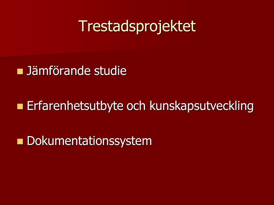 Trestadsprojektet  Jämförande studie  Erfarenhetsutbyte och kunskapsutveckling  Dokumentationssystem